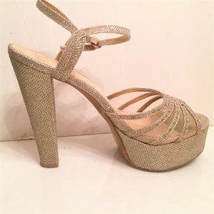 Strappy Gold Glitter Rhinestone Platform  Heels-8